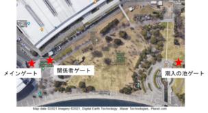 横浜開港祭2021における会場と人数カウントシステム設置場所