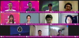 オンライン開講式に集まった日本の大学生たち