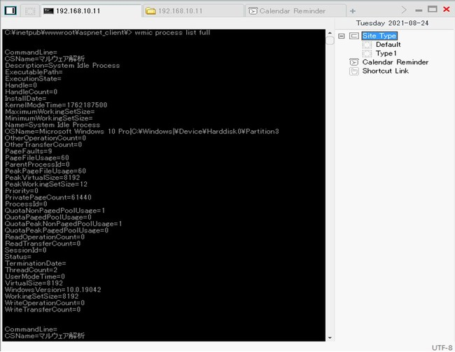 WebShellを介して標的端末のプロセス情報を列挙している様子