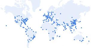 Cloudflareが展開している250以上の都市をまとめた世界地図